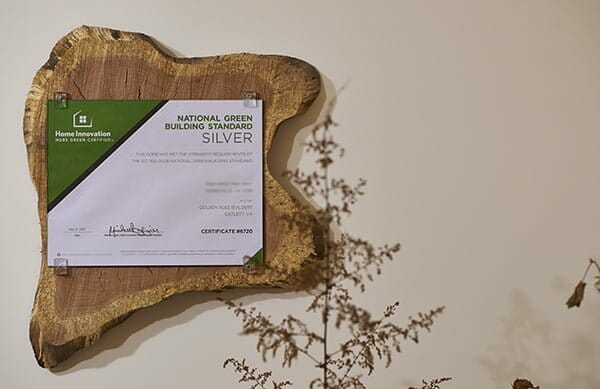 Golden Rule Builders - Green Certified Plaque