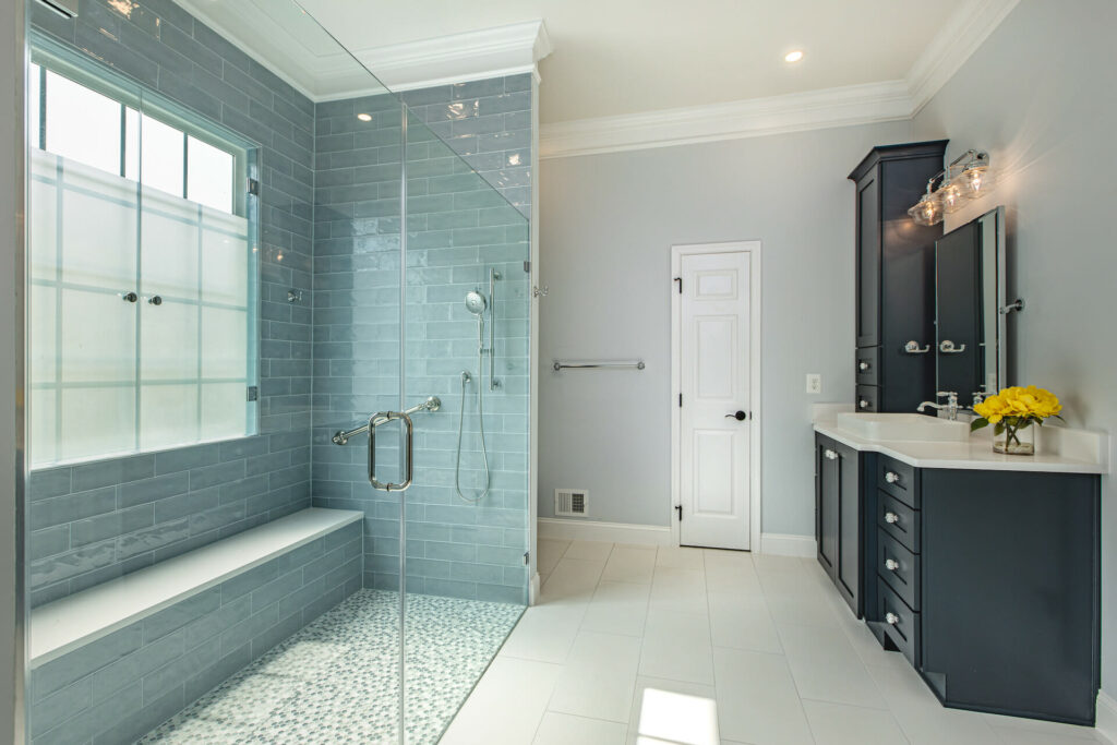 Bathroom renovation in Gainesville - Golden Rule Builders - Bathroom remodeling / renovation, Spacious master bathroom with a large walk-in shower.